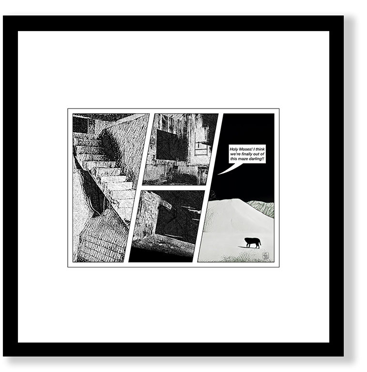 30x30 cm, glasram med svart (alt. vit) trälist. Innermått passepartout ca 20x20 cm. Grafiskt blad (ännu ej signerat) Giclée Fine Art Technique på bestruket akvarellpapper, av konstnären Zigge Holmgren. Begränsad upplaga.